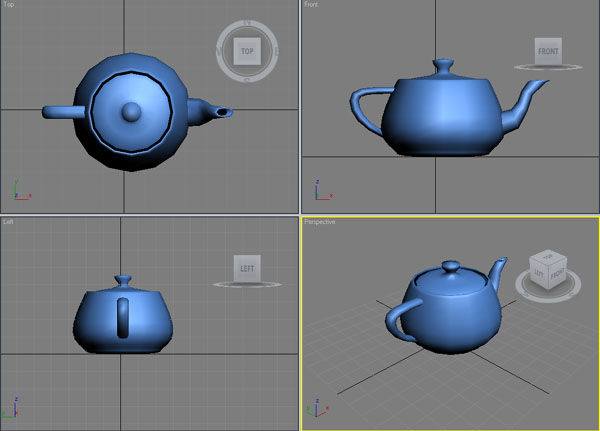 Рабочая область 3DS MAX с созданым чайником