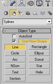 Создание сплайна «Line»